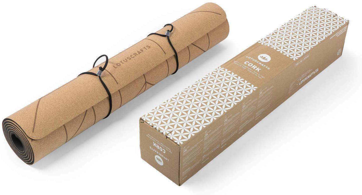 Lotuscrafts Cork Yoga Mat - Non-Slip Sweatproof Surface - 100% Recycleable Materials - Non Slip Yoga Mat Eco Friendly - Made of Cork & TPE - Ideal for ...