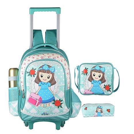 0f4d8eeafd0 HWX Trolley Encantadora Mochila Escolar Bolsas con Ruedas para niños Niñas  Viaje Principal Vacaciones Vacaciones (