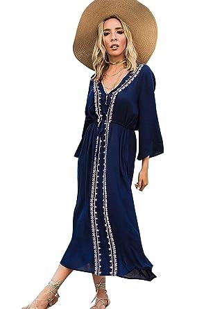 Vestido Boho Mujer Largo Talla Grande Camisolas y Pareos Indios ...