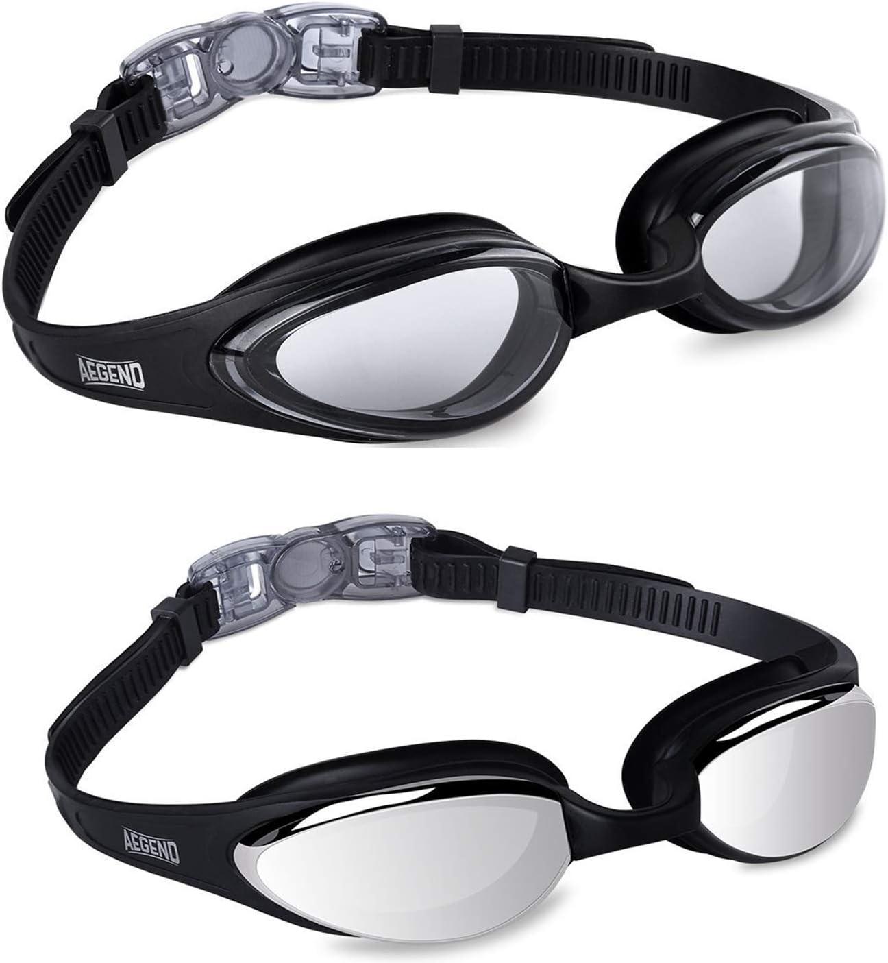 aegend Lunettes de Natation Design épuré - Anti-buée - Protection UV de qualité supérieure - Vision à 180 degrés - Pont de Nez en Silicone Souple - pour Adulte, Homme, Femme, Jeunesse