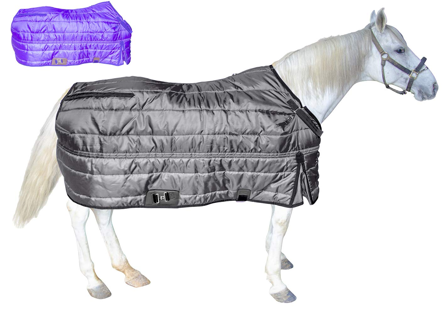 Derby Originals Windstorm Series Premium Horse and Draft Winter Open Front West Style Stable Blanket with 420D Breathable Nylon Exterior  Medium Weight 200g Polyfil Insulation