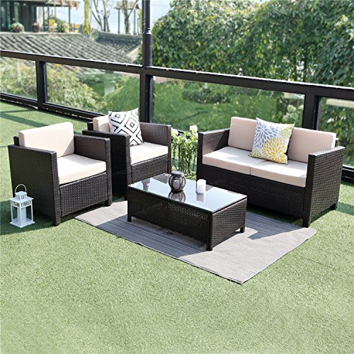 Wisteria Lane Outdoor Patio Furniture Set, 5 PieceSectional Sofa All Weather Wicker Chair Loveseat Glass Table Conversation Set,Brown (Best Price Garden Furniture)