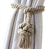 Shinywear Cotton Handmade Ball Knot Curtain Rope Tassel Vintage American Style Drapery Holders Ties,Set of 2 Pieces (Beige linen)