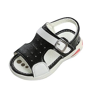 26e6cf8c346d1a Tefamore Children Boys Summer Beach Sandals Kids Hook   Loop Soft Antislip  Luminous Lighting LED Leather