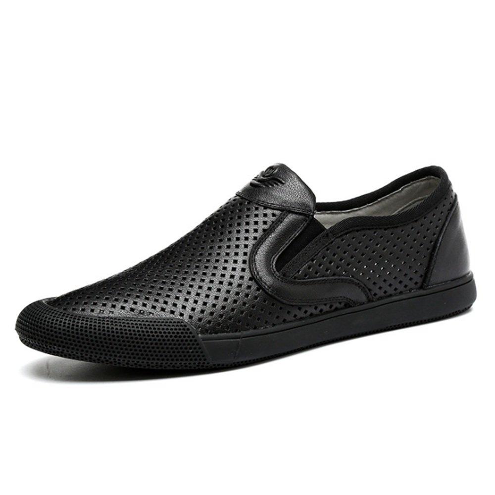 Zapatos De Playa Cómodos De Cuero Al Aire Libre Ocasionales De Los Hombres De Las Sandalias del Verano 42 EU|Negro
