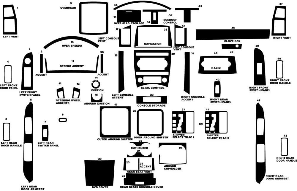 Rvinyl Rdash Dash Kit Decal Trim for Jeep Grand Cherokee 2005-2007 - Wood Grain (Walnut)