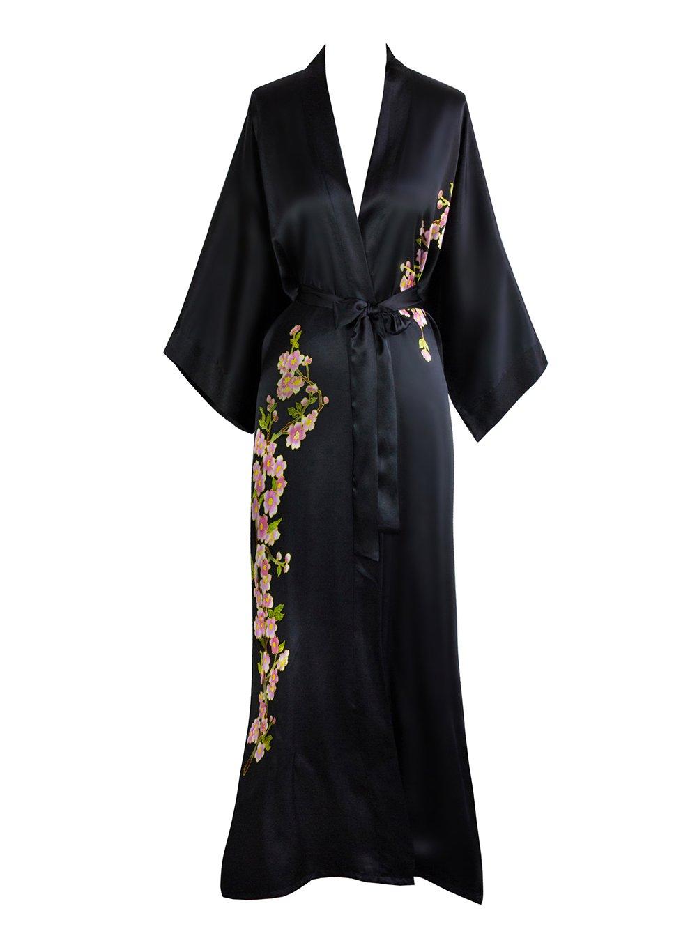 Old Shanghai Women's Silk Kimono Long Robe - Handpainted - Peacock Black