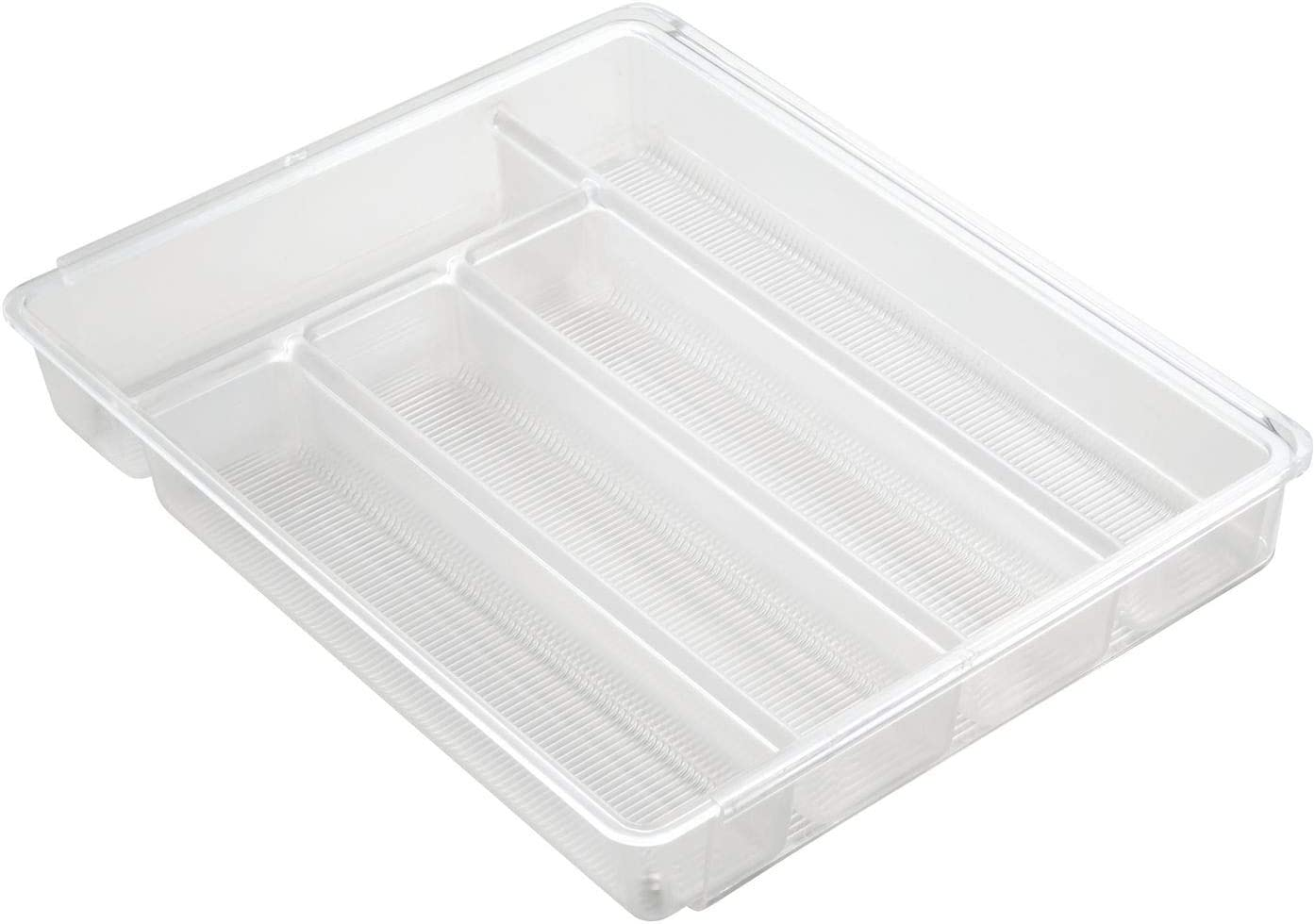iDesign Linus Expandable Kitchen Drawer Organizer for Silverware, Spatulas, Gadgets - Clear