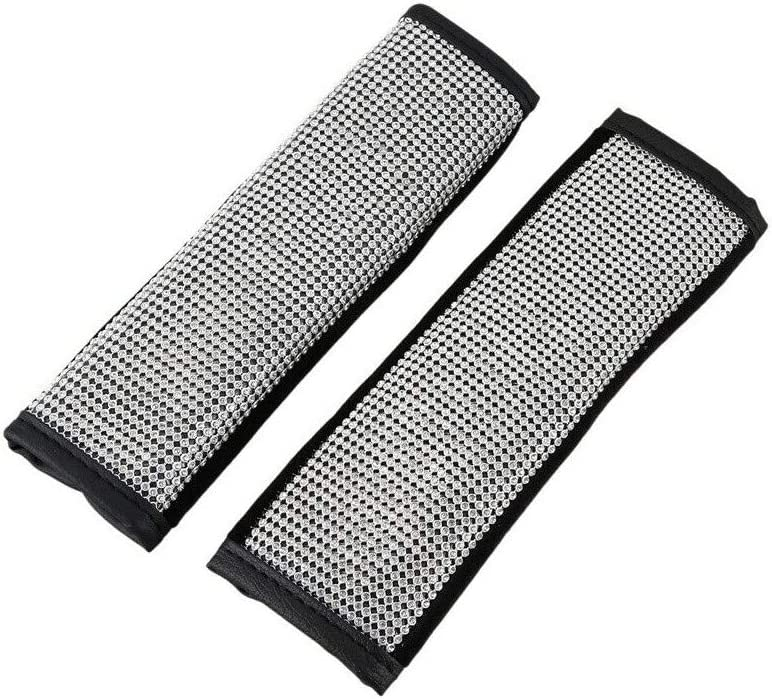 DONGKER 2 Pcs Seat Belt Shoulder Pads,Car Bling Seat Belt Covers Sparkly Diamond Car Decor Accessories for for Adults and Children