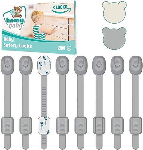 HOMYBABY Kit Seguridad Bebe [8pcs]   Cerraduras de Seguridad Niños   Adhesivo 3M extra fuerte   Cierre Seguridad Cajones Bebe   Seguros Puertas Bebes   Protector Cajones Bebe   Color Gris: Amazon.es: Bebé