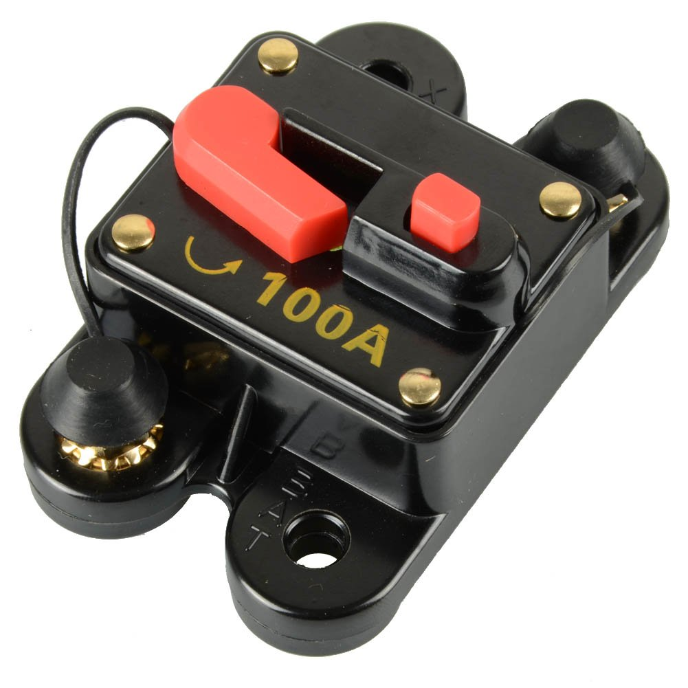 Asdomo 12V-24V DC Circuit Breaker Trolling Motor Auto Car Marine Boat Bike Stereo Audio Inline Fuse Inverter Waterproof with Manual Reset 100A 100 Amp HA0050STV031
