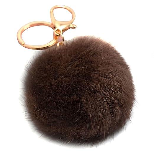 8a27c787e081 Fluffy Rabbit Fur Ball Keychain for Car Key Ring Handbag Tote Bag Pendant  Charm