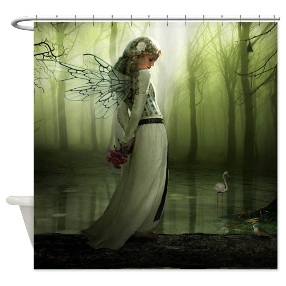Fairy shower curtain - Amazon Com Cafepress Forest Fairy Decorative Fabric Shower Curtain Home Kitchen