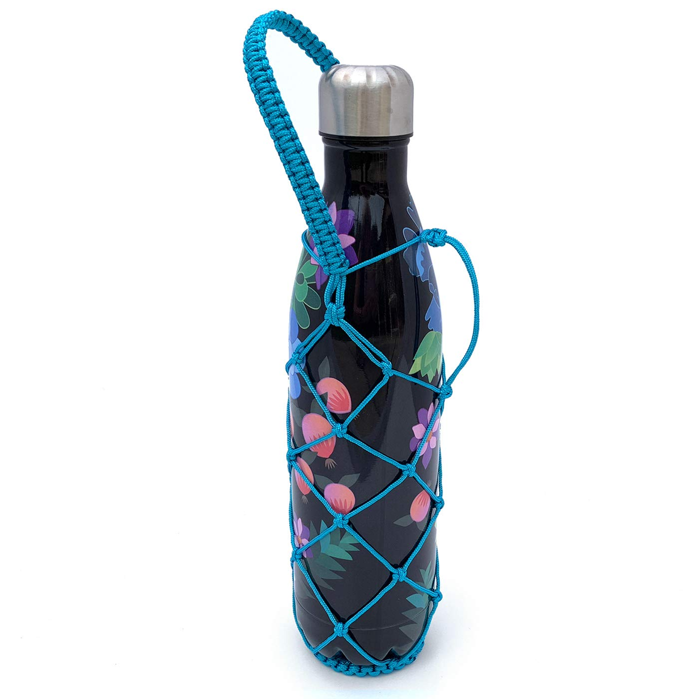 Gearproz Water Bottle Holder for Mira - Also Holds S'well, Simple Modern, Manna Bottles 9, 17, 25 oz - Stylish, Durable, Handcrafted Net - Frees Up Hands, Prevents Dropping and Dents (Turquoise 25oz)