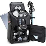 USA GEAR DSLR Camera Backpack Case (Black) - 15.6 inch Laptop Compartment, Padded Custom Dividers, Tripod Holder, Rain…