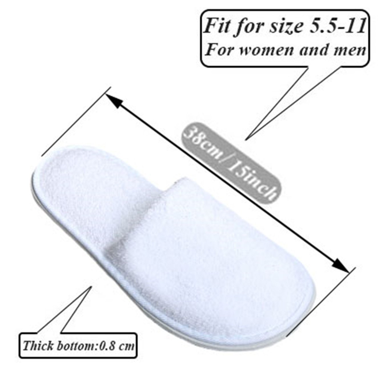 5 Pair of Close Toe Breathable Slippers, Spa Slippers for Guests, Hotel, Travel, Unisex Universal Size Washable and Non-Disposable