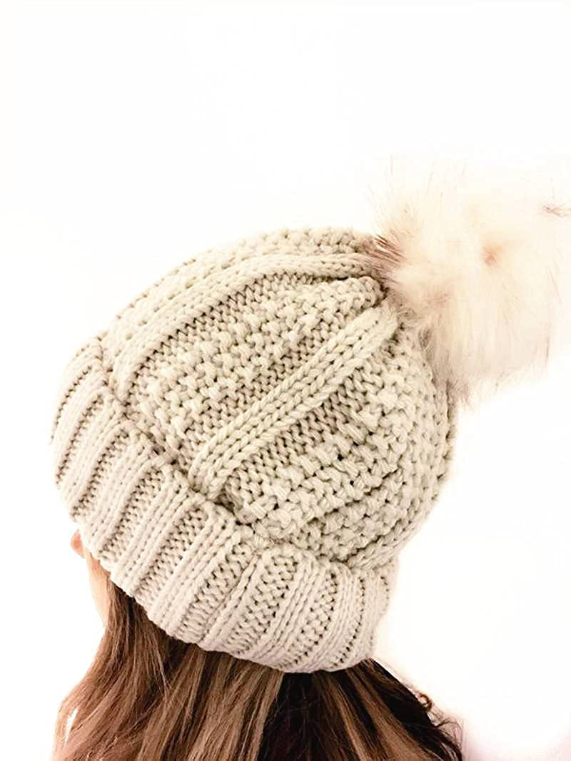 e80ccb2c054 JIMNATH Winter Womens Beanie Hat Cable Knitted Large Faux Fur Pom Pom  Beanie Hat (Beige)  Amazon.co.uk  Clothing