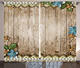 Ambesonne Pearls Decor Collection, Rustic Wooden Surface with Flowers Pearls Lace Texture Old Vintage Style Decor Image, Living Room Bedroom Curtain 2 Panels Set, 108 X 84 Inches, Beige Blue Review