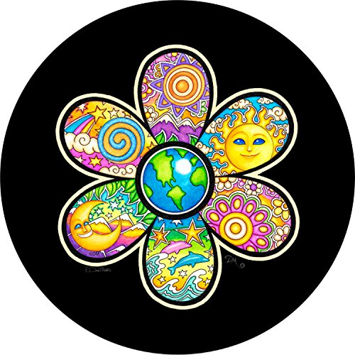 Earth Flower Sun Moon Stars Dolphin Spare Tire Cover for 255/75R17 Jeep RV Camper VW Trailer etc(Select popular sizes from drop down menu or contact us-ALL SIZES AVAILABLE)