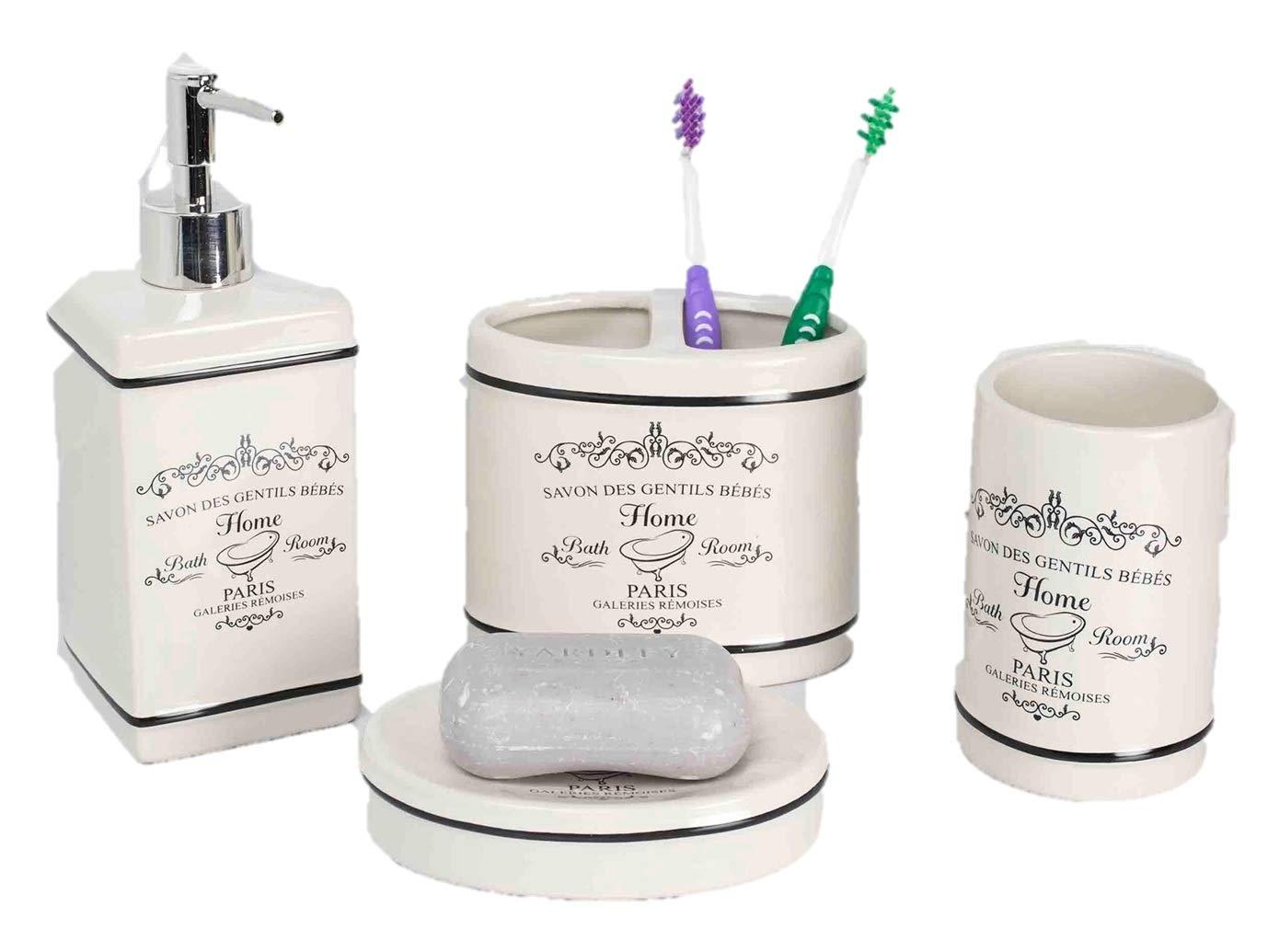 Exceptionnel Amazon.com: Elaine Karen Deluxe Paris Design Ceramic Bathroom Vanity  Accessory Set, Soap Dispenser Pump, Toothbrush Holder, Tumbler, Soap Dish    4 Piece ...