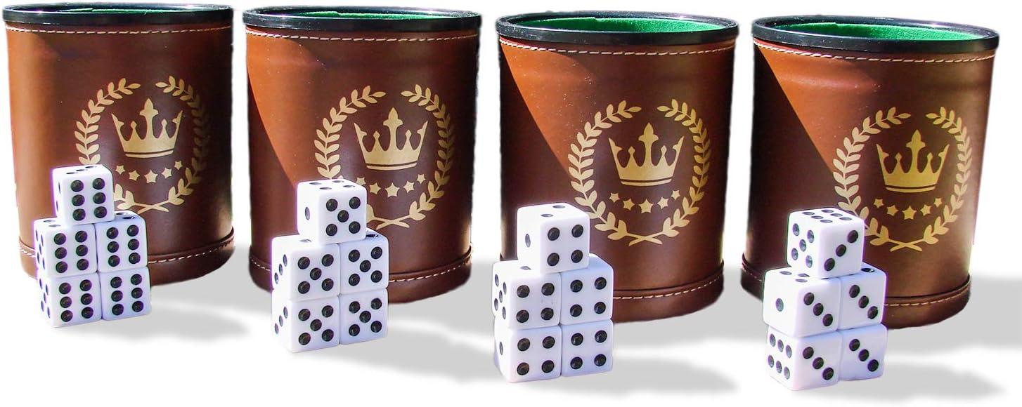 Park City Games - Juego de Tazas de Dados Profesionales, Piel marrón, Forro de Fieltro Verde, 20 Dados de Seis Lados incluidos, Juego de 4: Amazon.es: Juguetes y juegos
