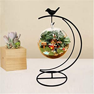 Archi Ornament Display Stand Holder Home Wedding Decoration Rack for Hanging Glass Globe Air Plant Flower Pot Stand Iron Pot Hook Stand Terrarium Witch Ball(Moon Birds)
