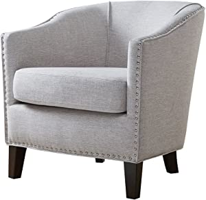 Madison Park FPF18-0493 Fremont Accent Chairs - Hardwood, Plywood, Faux Linen, Bedroom Lounge Mid Century Modern Deep Seating, Club Style Barrel Armchair, Living Room Furniture, Cream