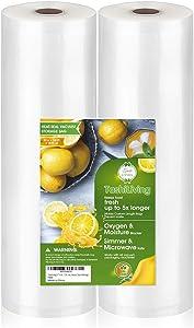 "TashiLiving 11"" x 50' - 2 Rolls Vacuum sealer Bags for Food Saver, 4mil BPA-Free, Freezer, Sous Vide Bags"