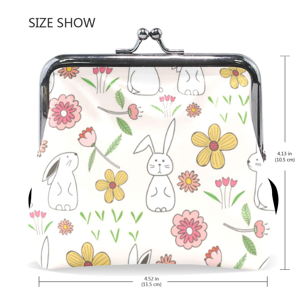Rabbit Bunny Pink Floral Easter Coin Purse Buckle Vintage PU Pouch Kiss-lock Wallet for Women Girl