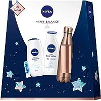 NIVEA Happy Balance Geschenkset, Set mit Trinkflasche, Body Lotion, Pflegedusche und Labello, Kleines Dankeschön voller Wohlfühlmomente