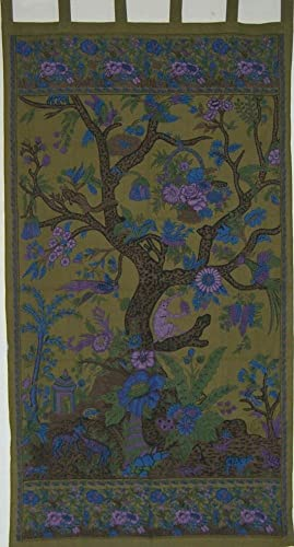 India Arts Tree of Life Print Tab-Top Cotton Curtain Panel-88 Lx44 W-Olive Green
