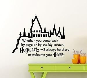 Harry Potter Wall Decal Hogwarts Quote Vinyl Sticker Superhero Movie Poster Home Family Teen Boy Girl Kids Room Bedroom Nursery Art Decor Lettering Vinyl Mural 79ct