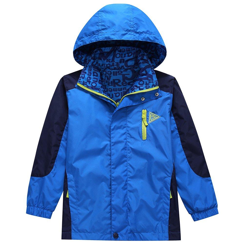 KID1234 Boys' Lightweight Rain Jacket Quick Dry Waterproof Hooded Coat (8, Blue)