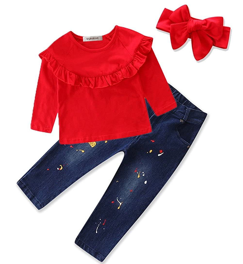 stylesilove Little Girls Off Shoulder Ruffle Blouse Top, Chic Denim Jeans and Headband 3 Pcs Set, 2T-6