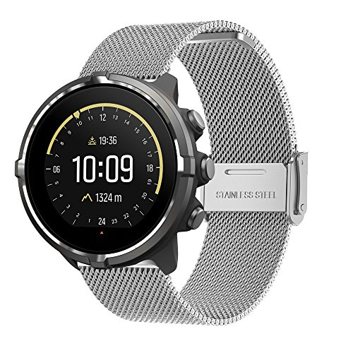 (Bands for Suunto Spartan Sport, Replacement Milanese Loop WristBand Strap with Metal Buckle for Suunto Spartan Ultra, Suunto Spartan Sport Watch (silver))