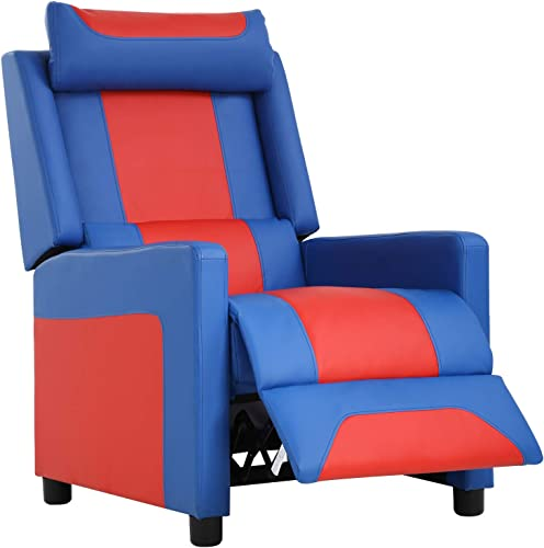 FDW Gaming Video Game Chairs Recliner Couch Gamer Chair Reclining Home Movie Theater Sofa Single Living Room Furniture Seat Comfortable, Blue
