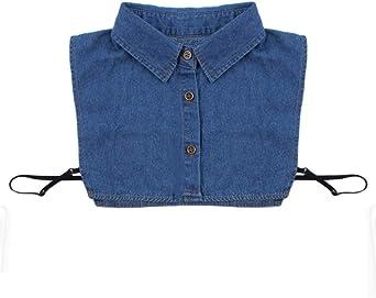 WEIHEE Collar falso desmontable blusa dama azul denim media camisa collares falsos collares de imitación gargantilla