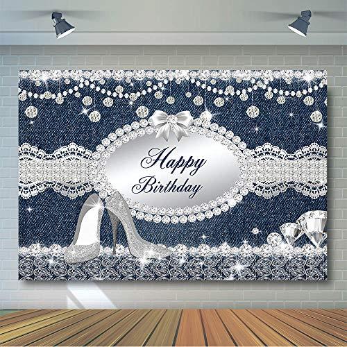 COMOPHOTO Denim and Diamonds Party Backdrop Glitter Diamonds Photography Backdrops 8x6ft Happy Birthday Banner Vinyl Background Photo Shoot Props]()