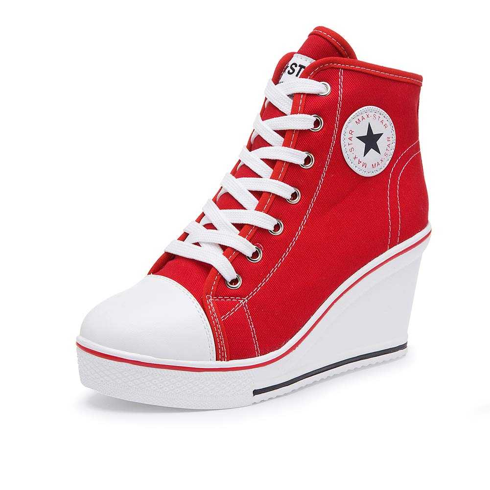 Red Sokaly Women's Sneaker High-Heeled Canvas shoes High-Top Wedge Sneakers Platform Lace up Side Zipper Pump Fashion Sneakers