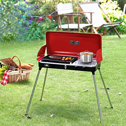 DOIT Outdoor Portable Gas Grill with Stand for BBQ & Camping,2 Burner,Grill with Hose and Adapter (red)