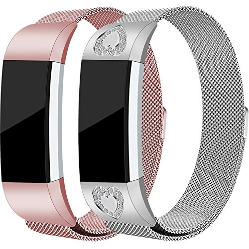 For Fitbit Charge 2 Bands, Stainless Steel Milanese Loop Metal Charge 2 Bands Replacement Accessories with Unique Magnet Lock, Small, Large