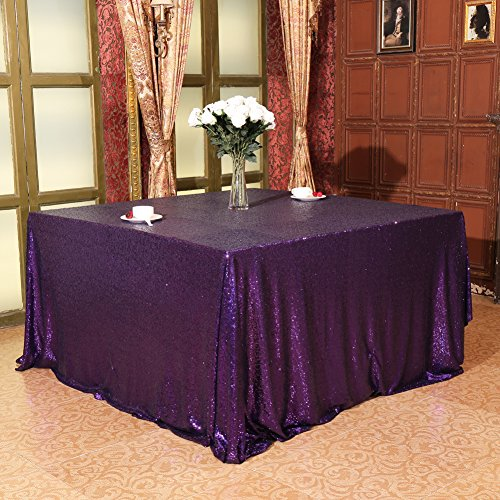 (Eternal Beauty Wedding Tablecloth, Square Sequin Tablecloth for Party, Glitter Party Tablecloth(Purple 48