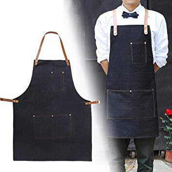 Generic Delantal Ropa de Trabajo Cafe Barista Bolsillos Soldadura Barber Denim Ropa de Trabajo Correas Cocina Delantales: Amazon.es: Hogar