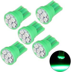 Frontl T10 LED Dash Light Bulbs Green 6-3020-SMD LED Bulbs 194 168 LED Light Bulbs Instrument Panel Gauge Cluster Indicator Lights,5Pack