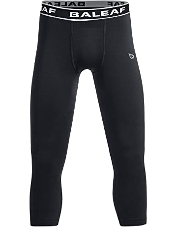 3637fc545e4b Baleaf Youth Boys  Compression Pants 3 4 Leggings Soccer Basketball  Baselayer Tights