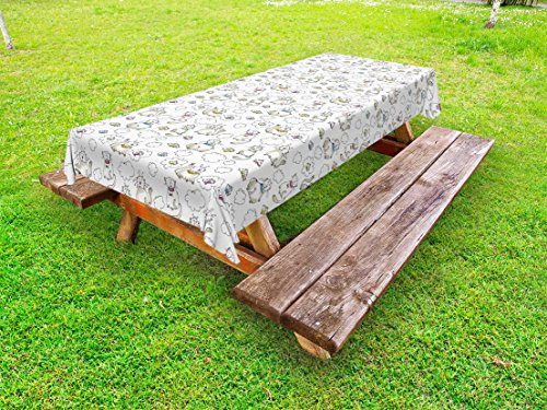 (Lunarable Sketch Outdoor Tablecloth, Chubby Kitties Above the Puffy Clouds Dreaming of Fish Domestic Pets Craving Food, Decorative Washable Picnic Table Cloth, 58 X 84 Inches, Multicolor)