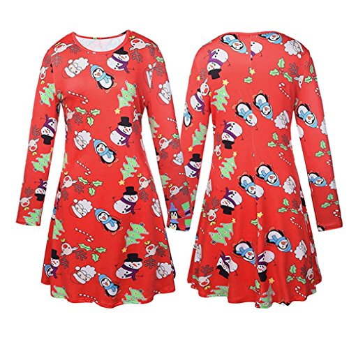 Christmas Print Xmas Dress Long Sleeve Red Koly Swing Women's Theme Party Ladies Cartoon ROqnXY