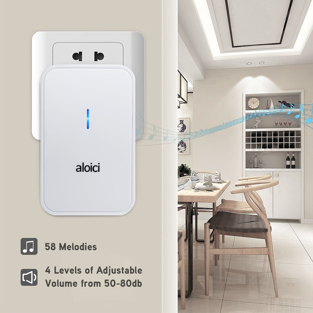Wireless Doorbell, 1 [Self-Powered] Push Button and 1 Plug-in Receiver, Waterproof Chime Kit with 58 Chimes & 4 Level Volume LED Flash [ White, No Battery Required, 2018 Upgraded ] by aloici (Image #5)