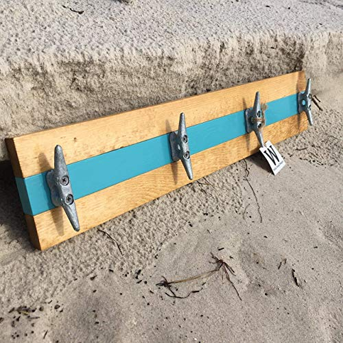 Nautical Boat Cleat Coat Rack, Towel Rack, or Hat Rack, Teal and Natural Pine ()
