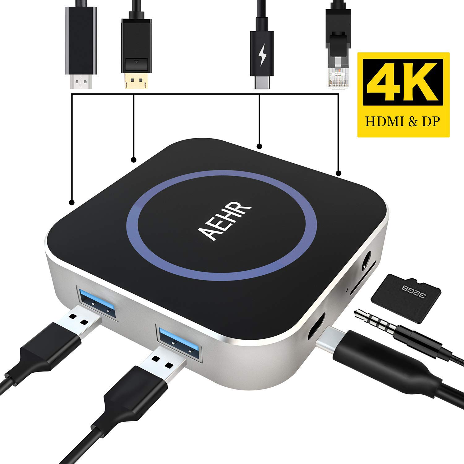 AEHR USB C Hub, 8-in-1 Type C Hub Adapter with Ethernet Port/Display Port, USB C to HDMI 4K and DP 4K, 2 USB 3.0 Ports,Earphone Port,TF Card Reader, Portable for MacBook Pro/Type C Device